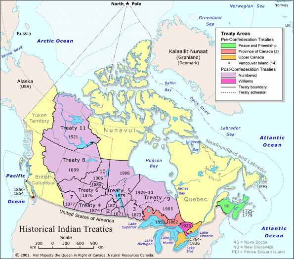 treaty map of can ada